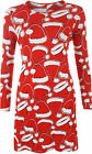 Womens Xmas Santa Hat Swing Dress Top Ladies Red White Print Long Sleeve 16-26