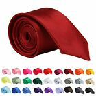 HIGH QUALITY MENS SLIM SKINNY SOLID COLOR PLAIN SATIN NECKTIE TIE CLASSIC TIES