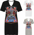 Womens Plus Choker T-Shirt Mini Dress Top Ladies Graphic Slogan Print New 16-28