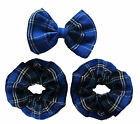 "Tartan Bow Hair Clip+Matching Scrunchie Blue Handmade 3.5""  Plaid Cotton Fabric"