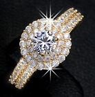 0.5 ct Cubic Zirconia Cluster Setting Engagement Ring Wedding Gold Plated Band