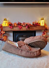 Lambland Mens - Ladies Genuine Suede Sheepskin Moccasin Slippers with PVC Sole