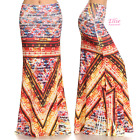 Floral Tribal Orange Sublimation high waist fold over maxi long skirt (S/M/L/XL)
