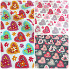 Summer Love hearts valentines fabric per half metre/ fat quarter 100% cotton