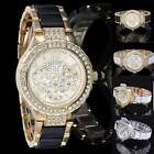Luxury Fashion Women's Ladies Crystal Bracelet Leather Analog Quartz Wrist Watch image