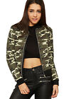 Womens Camouflage Bomber Jacket Ladies Cropped Long Sleeve Zip Print New 8-14