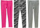 Girls Ankle Leggings Zebra, Pink, Gray Stretchy 95% Cotton Blend S L XL NEW