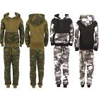 Childrens Kids Boys Sports Jogging Gym Camouflage Army Full Top Bottom Tracksuit