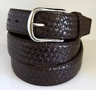 Men's Brown Twill Weave Pattern Textured Faux Leather Belt Silver Tone Buckle