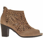 Earth SHAYE Womens Taupe Leather Casual Zip Up Comfort Heel Bootie Boots Shoes