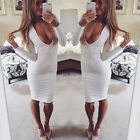 Women's Long Sleeve Bandage Bodycon Evening Party Cocktail Short Mini Dress SML