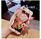 Girl's Mirror Luxury Bling Diamond Crystal Ring Holder Stand Phone Case Cover