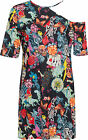 Plus Womens Cold One Shoulder Mini Dress Top Ladies Heart Skull Rose Print 14-28