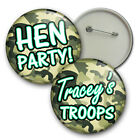 Camouflage Hen Party Badges - 58mm Personalised Hen party badges