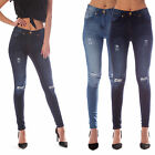 Womens Ladies Stretch Blue Faded Ripped Slim Fit Skinny Denim Jeans Jegging 6-18