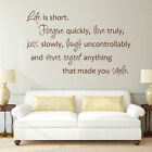 Inspiration Wall Decal Life is Short Quote Living Room Vinyl Removable Art Decor