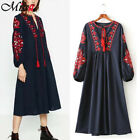 Boho Women Ethnic Navy Floral Tasseled Embroidered Loose Long Dress Bloggers Fav