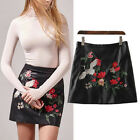 Women Vintage Floral Embroidery A-line High Waist Slim Faux Leather Mini Skirts