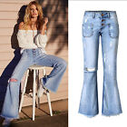 New Women Flared Tassels Stretch Ripped Frayed Ladies Denim Pants Trousers Jeans