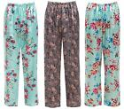 Ladies Satin Bottoms Lounge FLORAL Pink Green Silky Pyjama Pants Trousers Animal