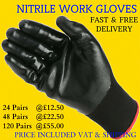 24, 48, 120 PAIRS NITRILE COATED NYLON WORK GLOVES Motor Sport Mechanics