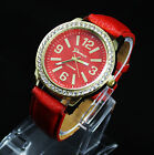 New Women Girl Lady Leather Fashion Wrist Watch Geneva Luxury Design Crystal G02