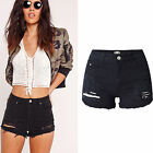 UK Womens High Waisted Black Stretch Ripped Ladies Denim Shorts Jeans Hot Pants