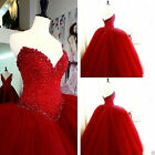 Red Quinceanera Dress Beaded Princess Ball Gown Prom Party Wedding Dress