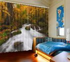 Stream in Autumn Forest 3D Blockout Photo Printing Curtains Draps Fabric Window