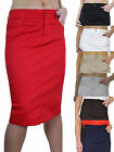 NEW (2516) Ladies Plus Size Stretch Chino Sheen Jeans Style Skirt 12-24
