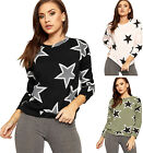Womens Star Print Sweatshirt Top Ladies Long Sleeve Crew Neck Jumper New