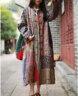 Folk Custom Womens Cotton Linen Maxi Long Sleeved Floral Loose Casual Dress Coat