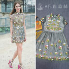 HOT luxury floral embroidery sexy elegant lace collar runway prom vintage dress