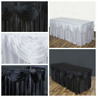 """14 feet x 29"""" Satin Classic Drape Table Skirt Wedding Party Catering SALE"""