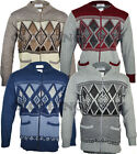 Mens Classic Zip Up Cardigan Argyle Grandad Collar  S - 5XL