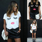 New SALE Women Ladies Fashion Summer Short Sleeve Eyes Lips Tops Blouse T-shirts