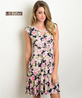 Women Casual Party Cap Sleeve Navy Pink Olive Floral Print Dress
