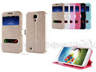 PU Leather Window-View Flip Case Cover for Samsung Galaxy S4 I950 i9500 i9502