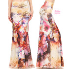 Watercolor Floral Splash Sublimation high waist maxi long skirt (S/M/L/XL)