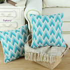 Pack of 2 Cushion Covers Pillows Shell Cotton Blend Triangle Geometric Sofa 45cm