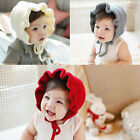 Knitted Baby Beanie Hats Adjustable Lace Up Infant Baby Bonnet 3 Colors