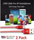 2 Pack X Android iPhone Micro USB Cable Data Sync Charger Cord Braided Fish Net