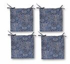 Set of 4 - In Outdoor ~ Blue Indigo Paisley ~ Foam Chair Cushions - Choose Size