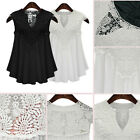 Women Blouse  Lace V-Neck Loose Chiffon Top T-Shirt Sleeveless Casual Cocktail