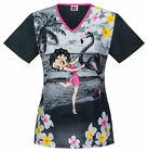 Cherokee Women V-Neck Scrub Betty Boop Top Flamingo Dancer SizesXS-M, XL $17.99 USD