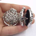21281 1/5pcs Dull Silver Plant Flat Tree Locket for Women Necklace Pad Diffuser