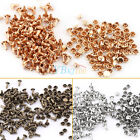 100x 6/8/10mm Round Double Cap Rivets Leather Craft Stud Repair Tool DIY Durable
