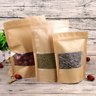 Stand Up Food Pouch Kraft Paper ZipLock Bags With Clear Window * VARIOUS SIZES *