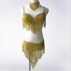 2PCS Belly Dance Costume Outfit Set Bra Belt Bollywood Carnival with Necklace