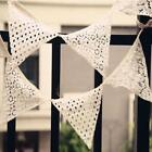 10Pc 2.8Meters Lace Cotton Bunting Flag Handmade Triangle Vintage Wedding Party